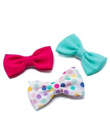 Pigtails and Ponys Bubblegum Bow Clips Set Of 3 - Multicolor