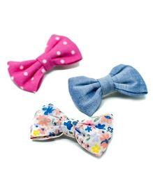 Pigtails and Ponys Spring Print Bow Clips Set Of 3 - Multicolor