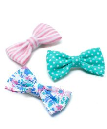 Pigtails and Ponys Sodapop Bow Clips Set Of 3 - Pink & Green