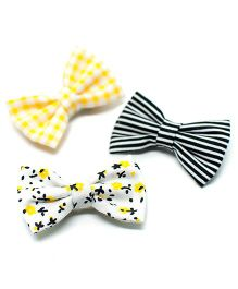 Pigtails and Ponys Honeybee Bow Clips Set Of 3 - Yellow And Black