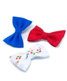 Pigtails and Ponys Petite Bow Clips Set Of 3 - Multicolor