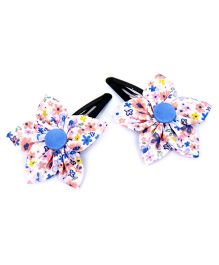 Pigtails and Ponys Spring Flower Print Clips Set Of 2 - Multicolor