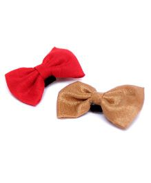 Pigtails and Ponys Sunshine Bow Clips Set Of 2 - Red And Yellow