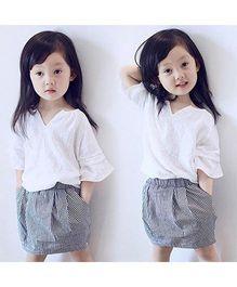 Wonderland Linen Top With Gingham Design Skirt - White & Black
