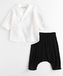 Wonderland Casual Top & Harem Style Pant - White & Black