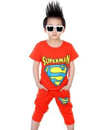 Wonderland Superhero Print Tee & Bottom - Orange
