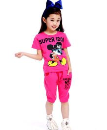 Wonderland Super Idol Print Tee & Bottom Set - Hot Pink