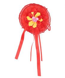 Treasure Trove Big Flower Rubber Band With Satin Tassels - Red