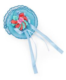 Treasure Trove Big Flower Rubber Band With Satin Tassels - Blue