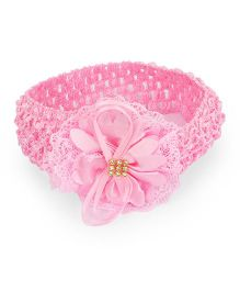 Treasure Trove Soft Stretahcable Hairband Adorned With Flower - Baby Pink
