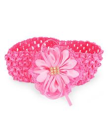 Treasure Trove Soft Stretahcable Hairband Adorned With Flower - Pink