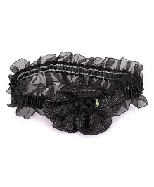 Treasure Trove Soft Stretahcable Hairband Adorned With Flower - Black