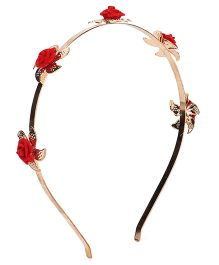 Treasure Trove Flower Hairband - Red And Golden