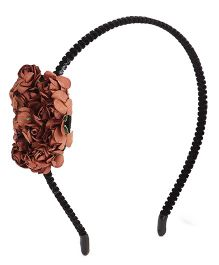 Treasure Trove Hairband Adorned With Handmade Bunch Of Flowers - Brown