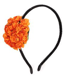 Treasure Trove Hairband Adorned With Handmade Bunch Of Flowers - Orange