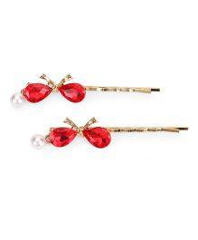 Treasure Trove Stone Studded Hair Pin - Red
