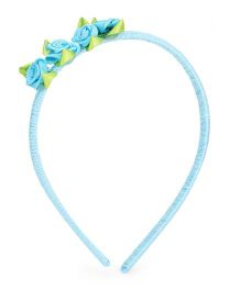 Treasure Trove Hairband Adorned With Satin Flowers - Blue