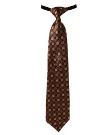 Needybee Printed Pre Knotted Tie With Buckle Closure - Brown