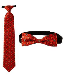 Needybee Set Of Printed Pre Knotted Tie & Bow Tie - Orange