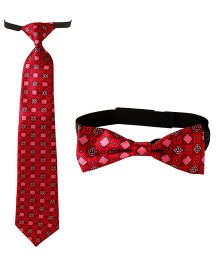 Needybee Set Of Printed Pre Knotted Tie & Bow Tie - Pink