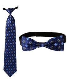 Needybee Set Of Printed Pre Knotted Tie & Bow Tie - Blue