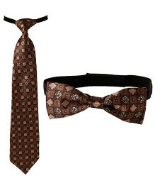 Needybee Set Of Printed Pre Knotted Tie & Bow Tie - Brown