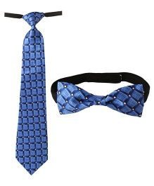 Needybee Set Of Printed Pre Stitched Tie And Bow Tie - Blue