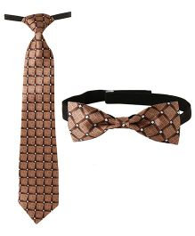 Needybee Set Of Printed Pre Stitched Tie And Bow Tie - Brown