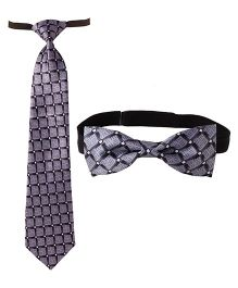 Needybee Set Of Printed Pre Stitched Tie And Bow Tie - Grey