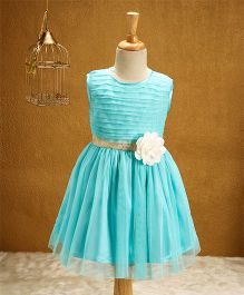 Babyhug Sleeveless Party Wear Frock With Net Frill - Blue