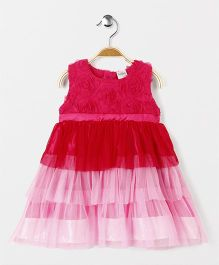 Babyhug Sleeveless Party Wear Frock With Multi Frills - Dark Pink