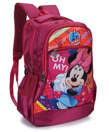 Disney Mickey Mouse Print School Bag Dark Pink - 17 Inches