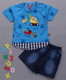 Wow Clothes Half Sleeves T-Shirt And Denim Shorts Vehicle Embroidery - Blue