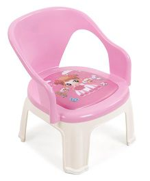 Plastic Chair With Print - Pink Cream
