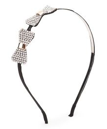 Treasure Trove Stone Studded Double Bow Hairband - Black And Silver