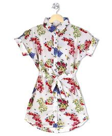 Budding Bees Floral Print Shirt Dress - Off White