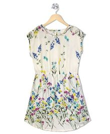 Budding Bees Floral Print A Line Dress With Elasticated Waist - Cream