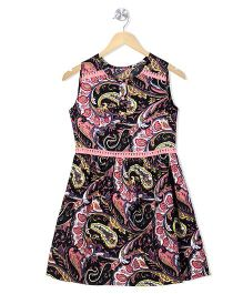 Budding Bees Floral Print Fit & Flare Dress With Front Buttons - Multicolor