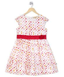 Budding Bees Dot Print Fit & Flare Dress - Off White & Red