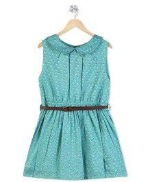 Budding Bees Peter Pan Collar Dress With Belt - Blue