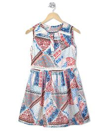 Budding Bees Abstract Print Dress With Front Buttons - Multicolor
