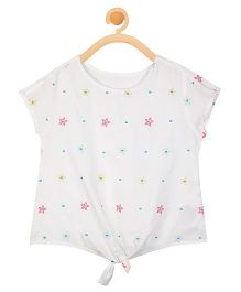 Budding Bees Thread Embroidered Front Tie Up Top - White
