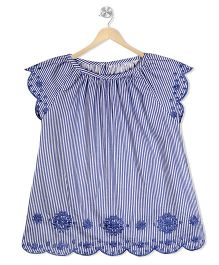 Budding Bees Stripe Print Top With Thread Embroidery - Blue