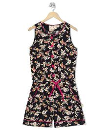 Budding Bees Floral Print Jumpsuit With Front Buttons - Black