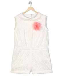 Budding Bees Thread Embroidered Jumpsuit With Flower Applique - White