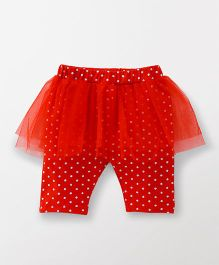 Babyhug Three Fourth Length Skeggings All Over Dots Print - Red