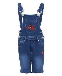 FirstClap Denim Dungaree With Patch - Dark Blue