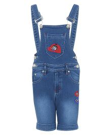 FirstClap Denim Dungaree With Patch - Light Blue