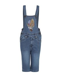FirstClap Denim Dungaree With 1986 Patch - Dark Blue