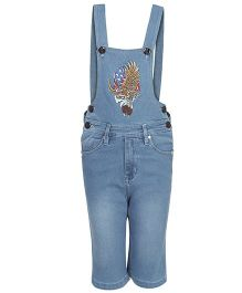 FirstClap Denim Dungaree With 1986 Patch - Light Blue